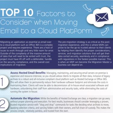 Factors to consider when moving email to Cloud platforms
