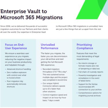 Image of Enterprise Vault to Microsoft 365 Migration Datasheet