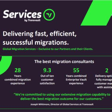 Infographic highlighting Transvault's Migration Services